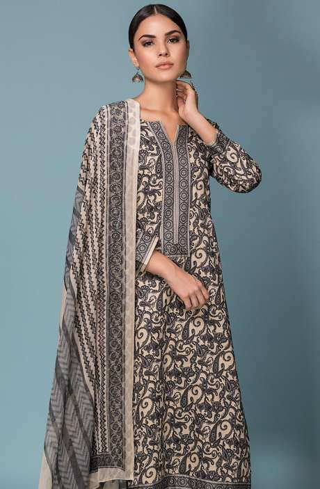 Festive Collection Cotton Digital Printed Salwar Suit Sets In Beige and Grey - SHI971-R