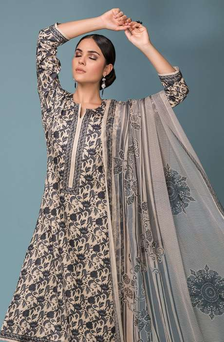Festive Collection Cotton Digital Print Salwar Suit In Beige and Grey - SHI977-R