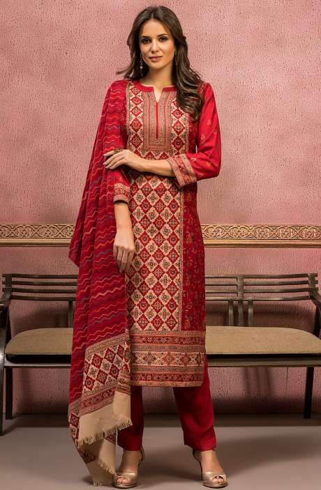 Woollen Spun Unstitched Weaving Salwar Suit In Maroon with Stall Dupatta - SHO5001
