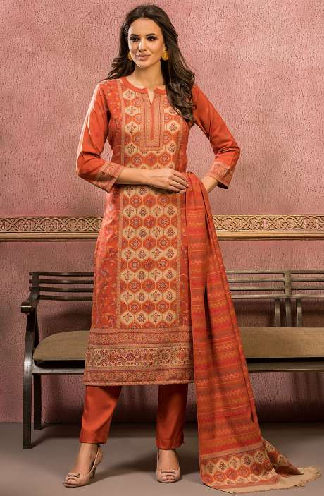Woollen Spun Unstitched Weaving Salwar Suit In Rust with Stall Dupatta - SHO5004
