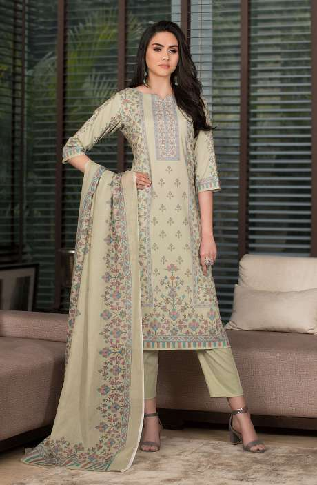 Cotton Digital Kani Print Salwar Kameez In Pista Green - SHR2208