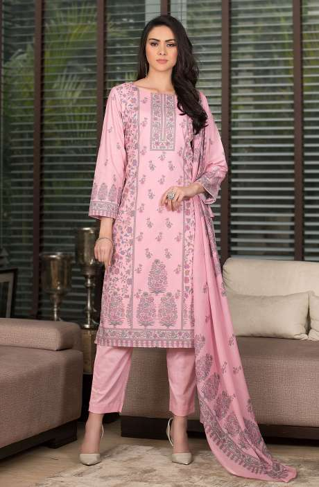 Cotton Digital Kani Print Salwar Kameez In Pink - SHR2209