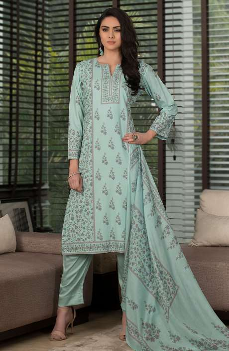 Cotton Digital Kani Print Salwar Kameez In Sea Green - SHR2211