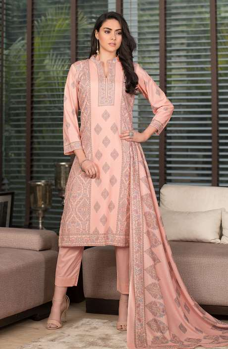Cotton Digital Kani Print Salwar Kameez In Peach - SHR2212