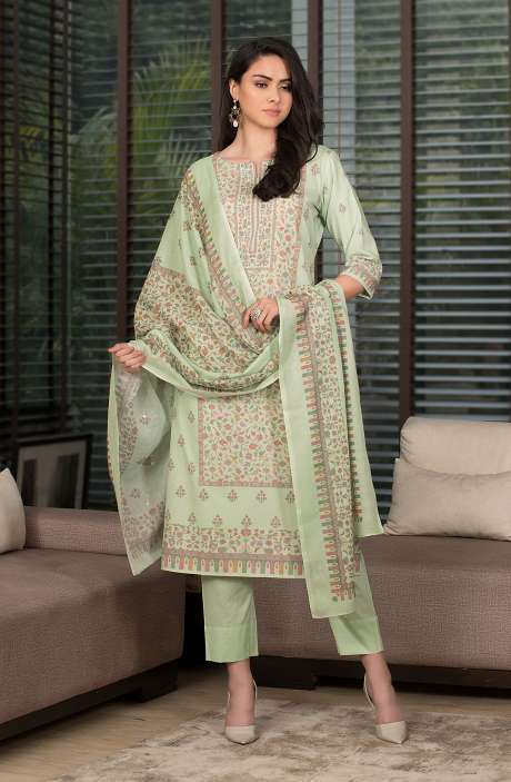 Cotton Digital Kani Print Salwar Kameez In Parrot Green - SHR2214