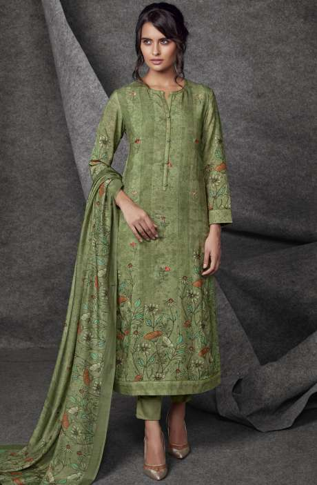Modal Cotton Printed with Embroidery & Sequins Work Mehndi Green Salwar Kameez - SHR504