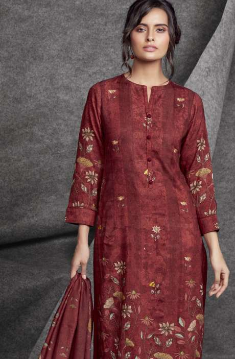 Modal Cotton Printed with Embroidery & Sequins Work Maroon Salwar Kameez - SHR508