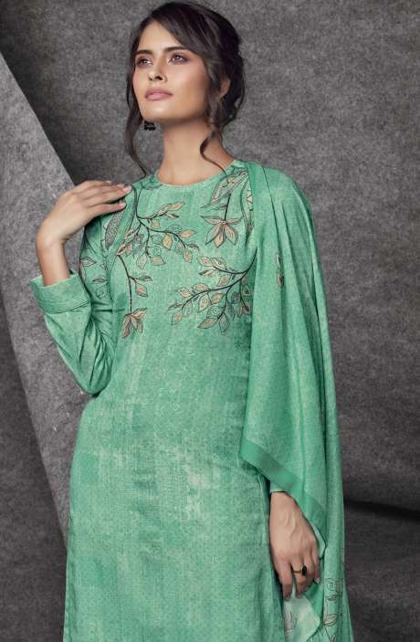 Modal Cotton Printed with Embroidery & Sequins Work Green Shalwar Kameez - SHR516