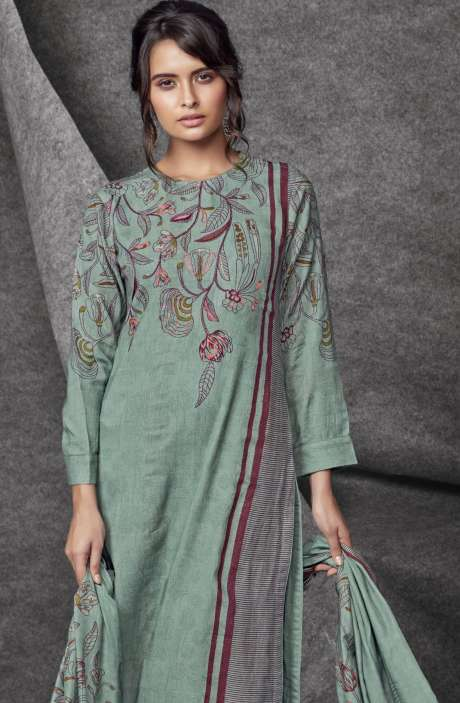 Modal Cotton Printed with Embroidery & Sequins Work Sea Green Salwar Kameez - SHR524