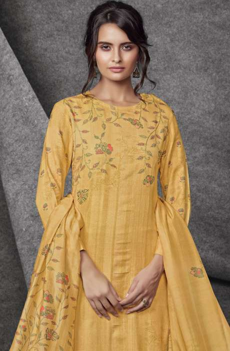 Modal Cotton Printed with Embroidery & Sequins Work Mustard Yellow Salwar Kameez - SHR532