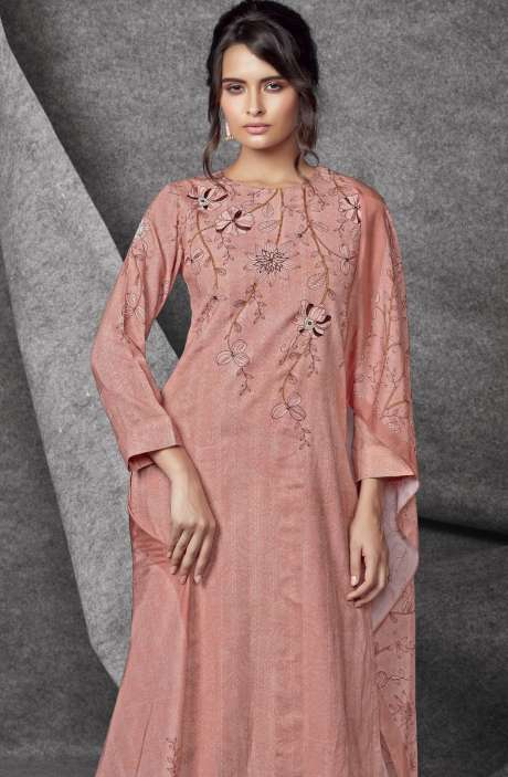 Modal Cotton Printed with Embroidery & Sequins Work Peach Salwar Kameez - SHR536