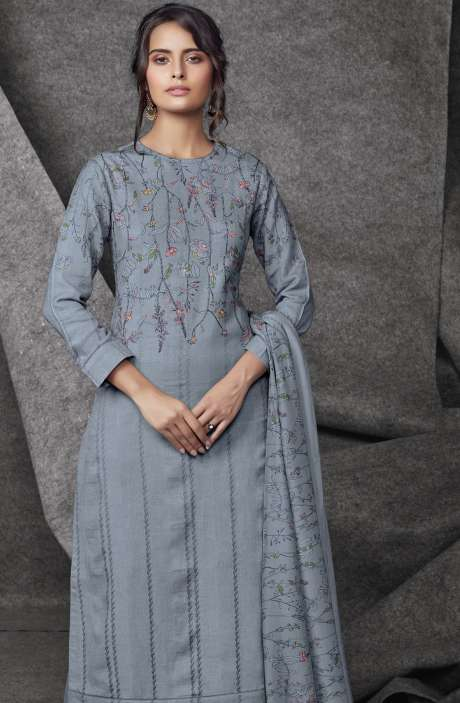 Modal Cotton Printed with Embroidery & Sequins Work Grey Salwar Kameez - SHR540