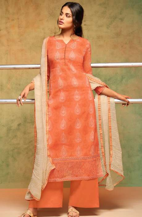 Digital Print Organdy Cotton Salwar Suit In Orange - SHR5639-R