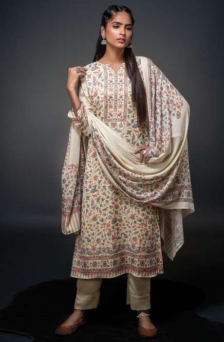 Pashmina Beautiful Kani Print Salwar Kameez In Cream - SHU3015
