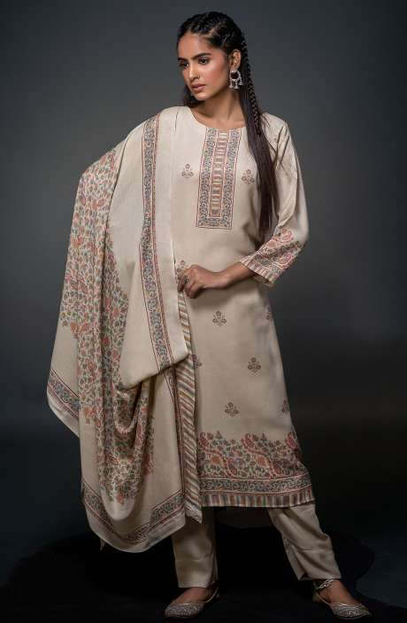 Pashmina Beautiful Kani Print Salwar Kameez In Cream - SHU3016