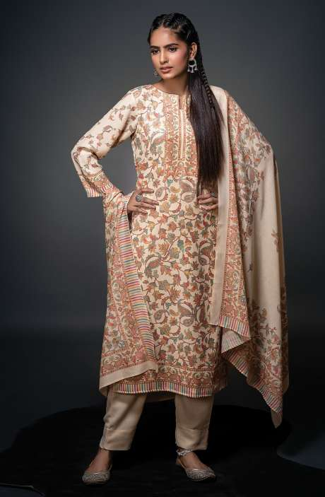 Pashmina Beautiful Kani Print Salwar Kameez In Cream - SHU3017