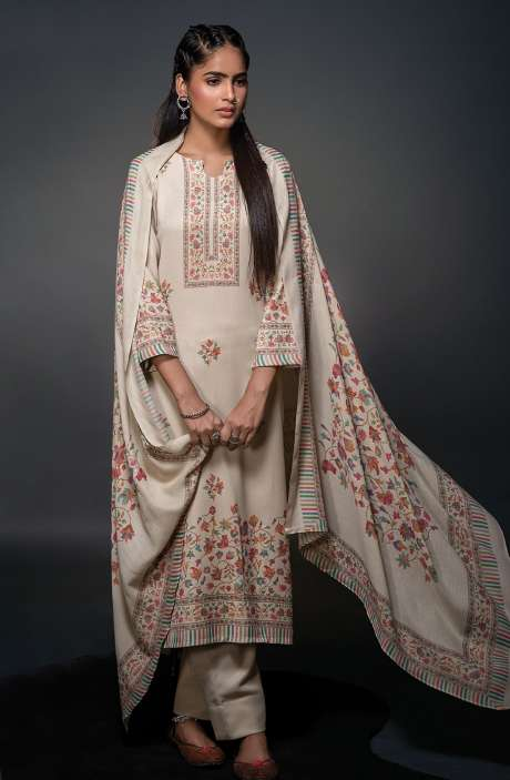 Pashmina Beautiful Kani Print Salwar Kameez In Cream - SHU3018