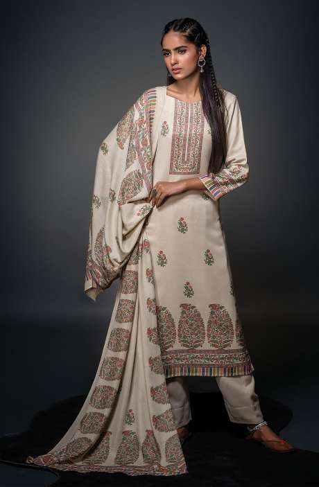 Pashmina Beautiful Kani Print Salwar Kameez In Cream - SHU3019