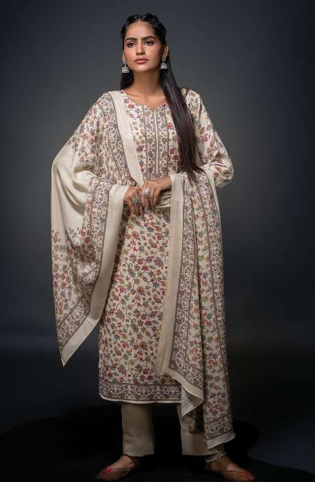 Pashmina Beautiful Kani Print Salwar Kameez In Cream - SHU3020
