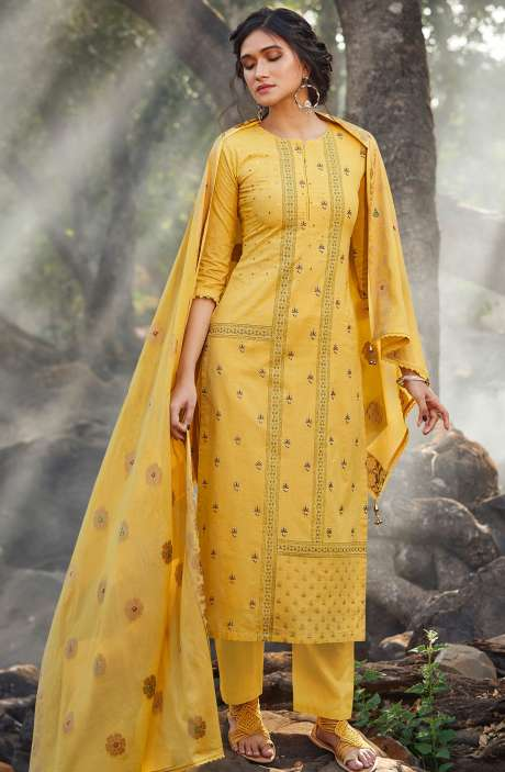 Cotton Digital Printed Salwar Kameez in Yellow - SIE5149