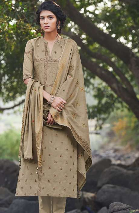 Cotton Digital Printed Salwar Kameez in Brown - SIE5150