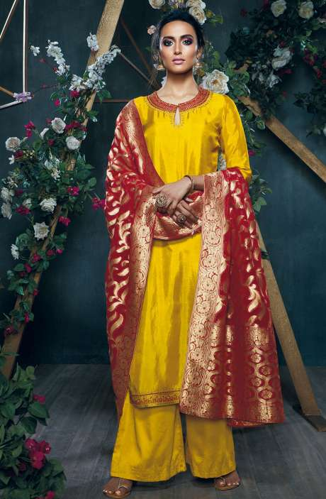 Party Wear Cotton Silk Zari with Swarovski and Sequence Work Salwar Kameez In Mustard - SIL6334-RE