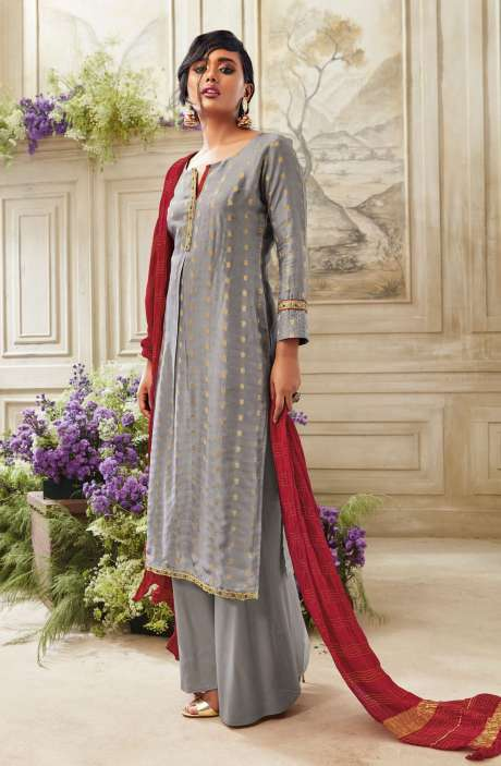 Zari Embroidered Chanderi Cotton Salwar Suit Sets In Grey - SIM5536