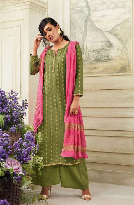 Zari Embroidered Chanderi Cotton Salwar Suit Sets In Mehndi - SIM5537