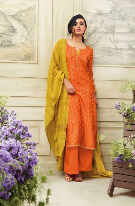 Zari Embroidered Chanderi Cotton Salwar Suit Sets In Orange - SIM5538