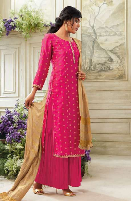Zari Embroidered Chanderi Cotton Salwar Suit Sets In Pink - SIM5540