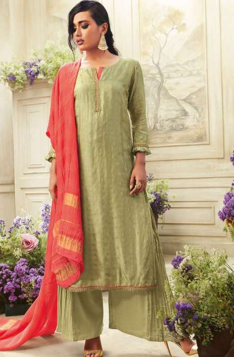 Zari Embroidered Chanderi Cotton Salwar Suit Sets In Pastel Green - SIM5541