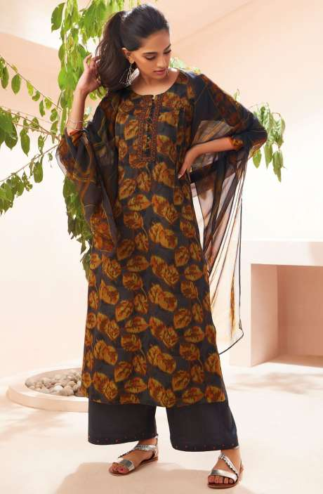 Spun Winterwear Digital Print with Embroidered Salwar Suit Sets In Multi and Coffee Brown - SOL6719
