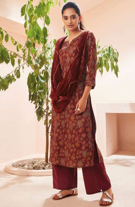 Spun Winterwear Digital Print with Embroidered Salwar Suit Sets In Multi and Maroon - SOL6721