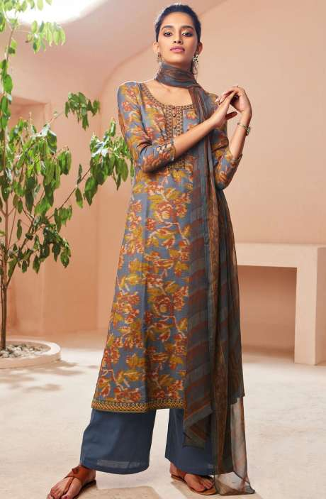 Spun Winterwear Digital Print with Embroidered Salwar Suit Sets In Multi and Grey - SOL6722