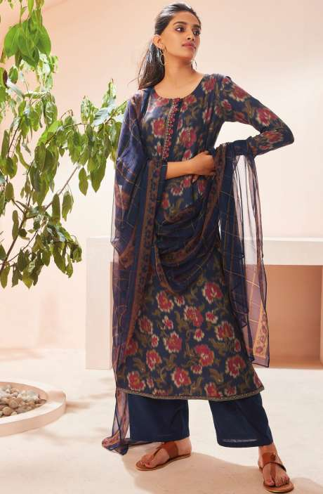 Spun Winterwear Digital Print with Embroidered Salwar Suit Sets In Multi and Blue - SOL6723