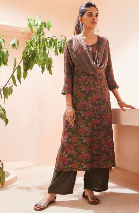 Spun Winterwear Digital Print with Embroidered Salwar Suit Sets In Multi and Mehndi - SOL6724