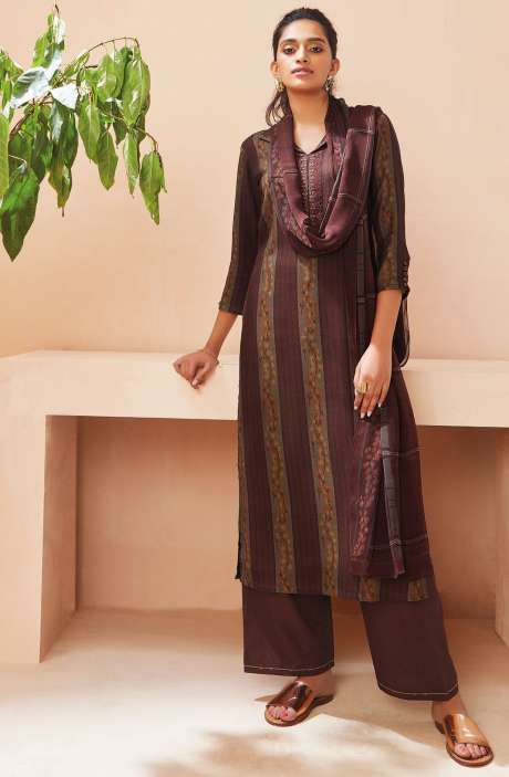 Spun Winterwear Digital Print with Embroidered Salwar Suit In Multi and Coffee - SOL6725
