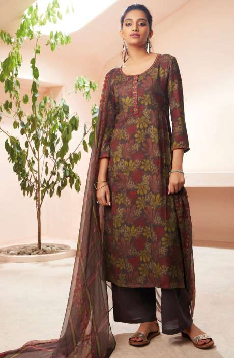 Spun Winterwear Digital Print with Embroidered Salwar Kameez In Multi and Coffee - SOL6727