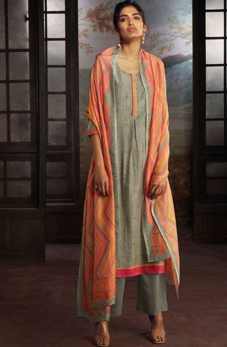 Chanderi Silk Digital Print Suit Sets in Grey - SOL0142