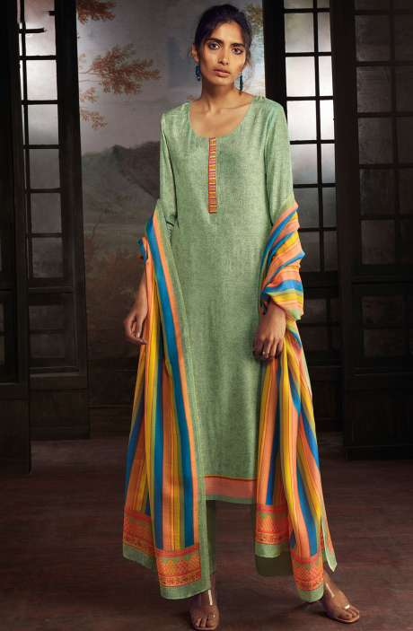 Chanderi Silk Digital Print Suit Sets in Green - SOL0143