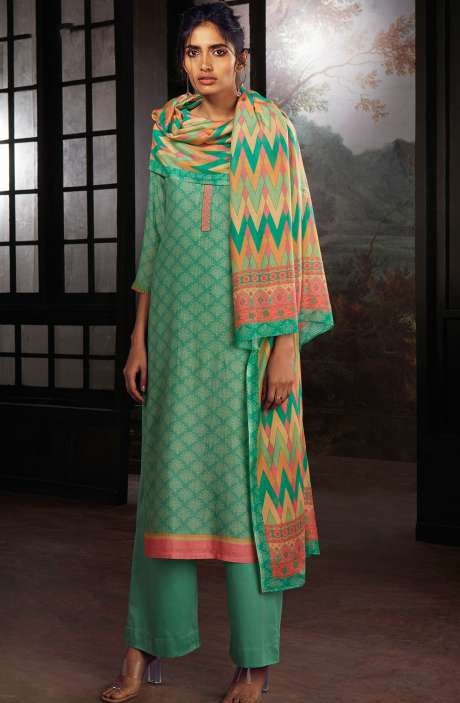 Chanderi Silk Digital Print Suit Sets in Sea Green - SOL0144