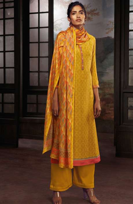 Chanderi Silk Digital Print Suit Sets in Mustard Yellow - SOL0145