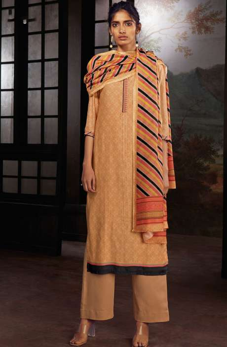 Chanderi Silk Digital Print Suit Sets in Peach - SOL0146