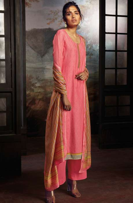 Chanderi Silk Digital Print Suit Sets in Pink - SOL0148