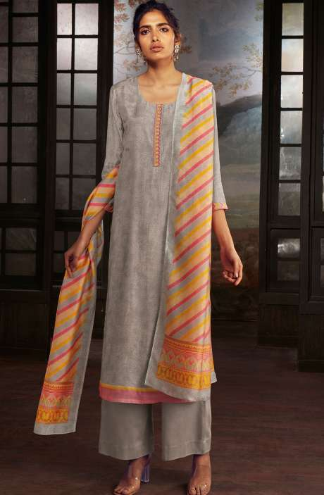 Chanderi Silk Digital Print Suit Sets in Grey - SOL0149