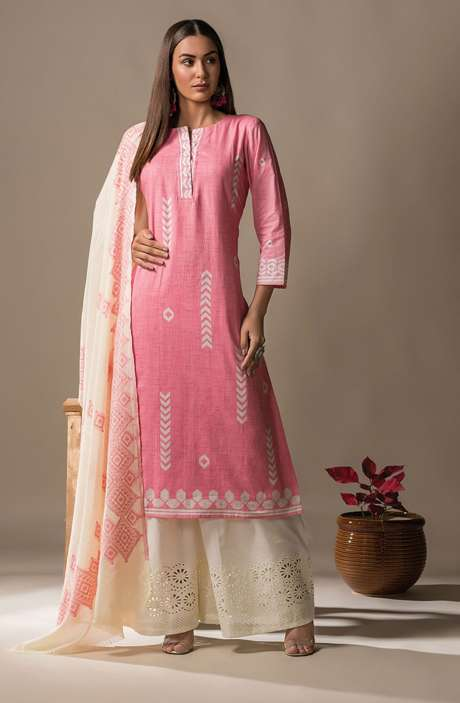 Cotton Printed Casual Salwar Kameez In Pink - SON2358
