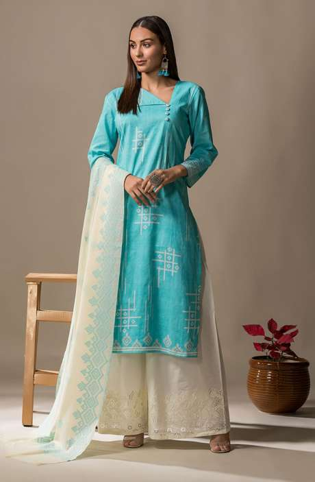 Cotton Printed Casual Salwar Kameez In Turquoise - SON2359