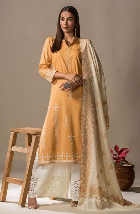 Cotton Printed Casual Salwar Kameez In Mustard - SON2360
