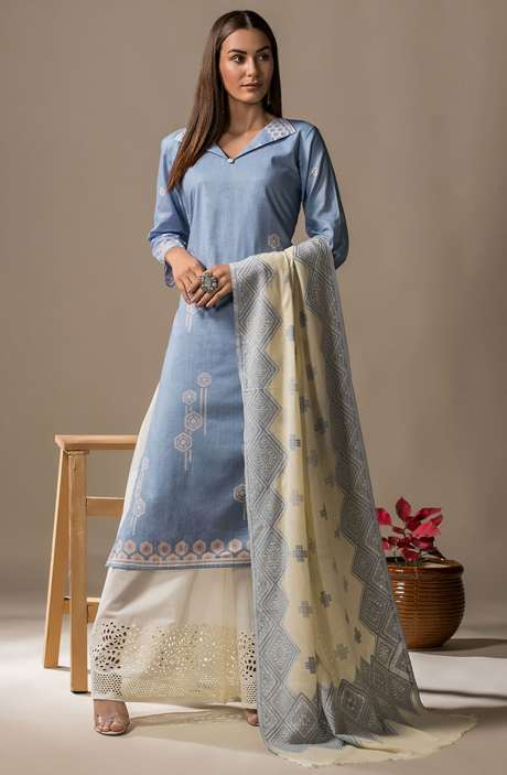 Cotton Printed Casual Salwar Kameez In Light Blue - SON2361