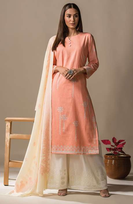 Cotton Printed Casual Salwar Kameez In Peach - SON2362